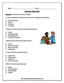 lab safety science safety quiz multiple choice safety