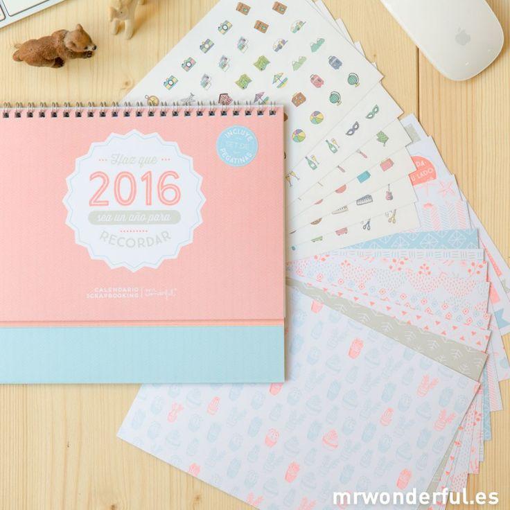"""Calendario scrapbook 2016 """"Haz que 2016 sea un año para recordar"""" #mrwonderfulshop #calendar #scrapbook"""