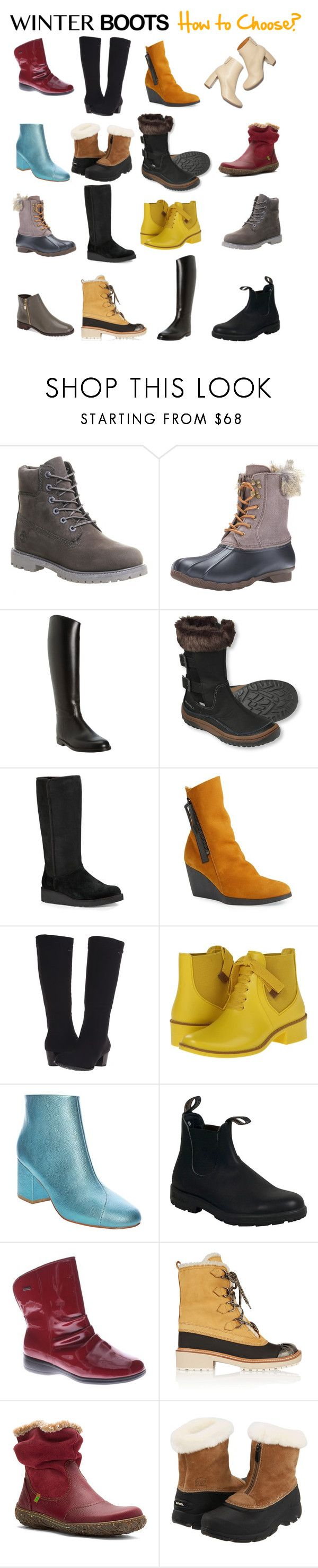 """""""Winter Boots - How to Choose?"""" by taci42 ❤ liked on Polyvore featuring STELLA McCARTNEY, Timberland, Sperry Top-Sider, Aigle, Merrell, UGG Australia, Arche, ara, Bernardo and Blundstone"""
