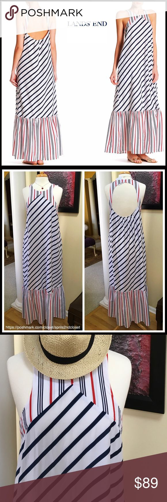 """LANDS' END Resort Maxi Dress Coverup LANDS' END Printed Maxi Dress   SIZING-Tagged M = 8-10  COLOR- Deep Sea, Red, White Combo  ABOUT THIS ITEM * Crew Neck; 2 on seam pockets   * Striped print w/a vintage nautical look * Back double button closure & elastic back * Approx 61"""" long * Cutout back & ruffle hem details * Subtle A-line silhouette  FABRIC cotton, 30% silk      ❌NO TRADES❌ ✅BUNDLE DISCOUNTS ✅ OFFERS CONSIDERED (Via the offer button only)  ITEM# SEARCH WORDS # slip Lands' End Swim…"""