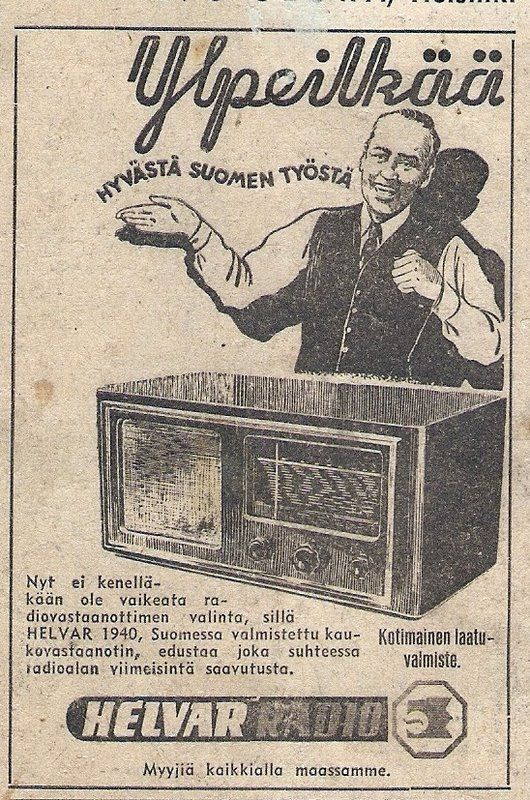 An old radio commercial of Helvar, a Finnish manufacturer. It also happens that my sister worked in Helvar for a while :)