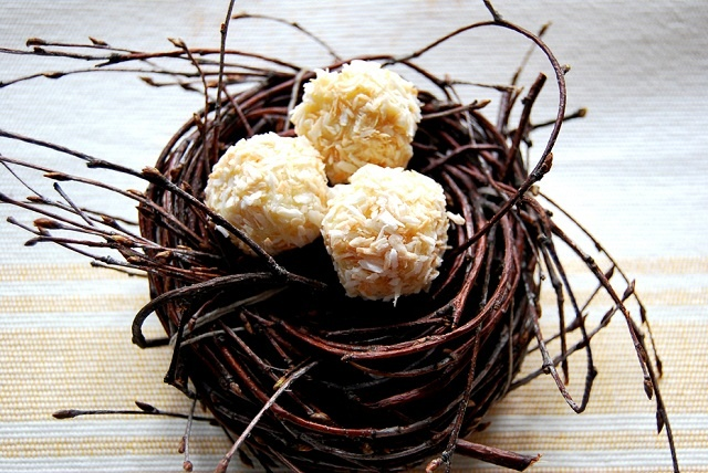 white chocolate truffles covered with coconut
