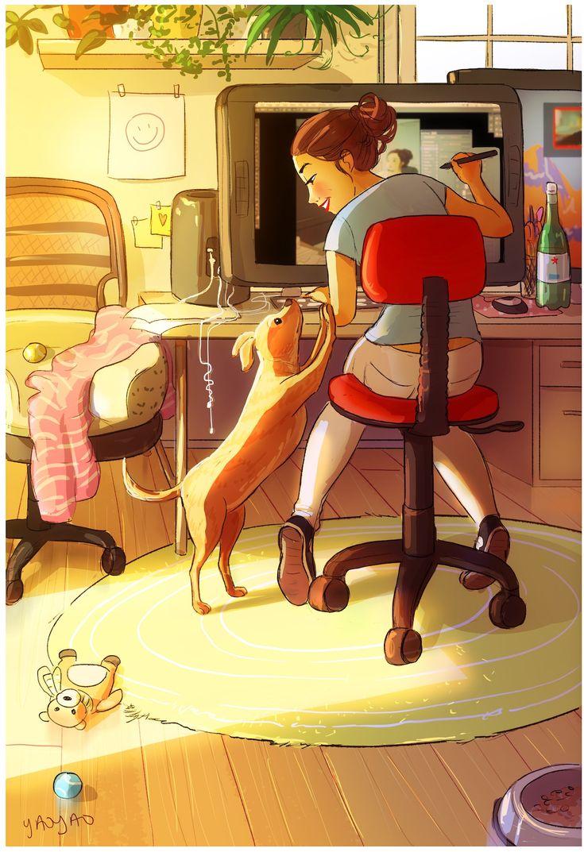De nouvelles illustrations de la vie avec son chien par Yaoyao Ma Van As  Dessei…