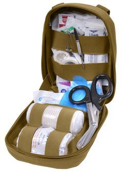 Heavy Weight 900d Polyester, Zippered Pouch, 7 Inches X 8 Inches X 3 Inches, With MOLLE Attachment, One Inside Pocket, Inside Elastic Bands, Contains Top Quality Essential First Aid Items. Contents: -
