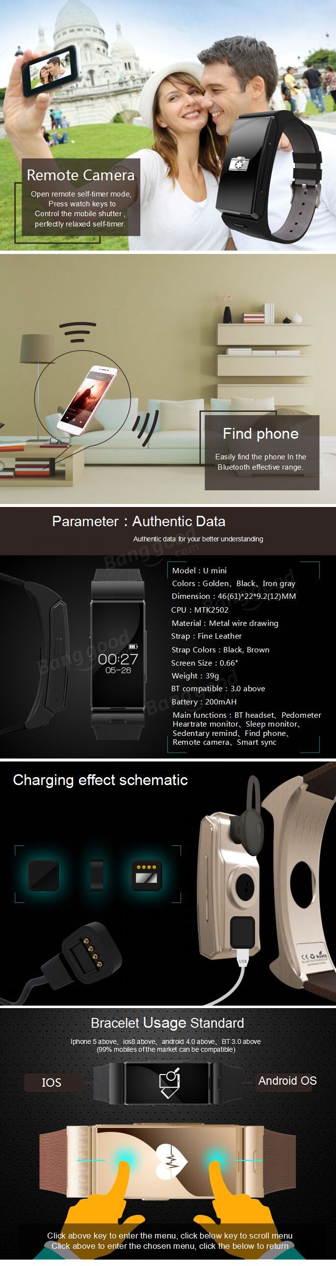 U Watch U20 Mini Bluetooth 4.0 Smart Watch Touch Screen Heart Rate Wristwatch Bluetooth Headphones Sale - Banggood.com
