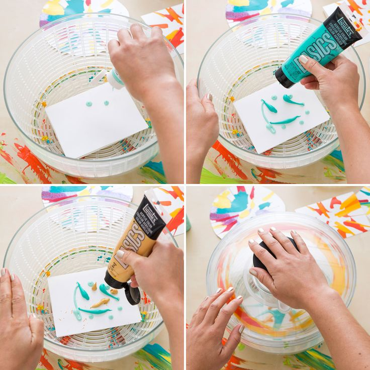 Make your own spin art in a salad spinner with this tutorial.