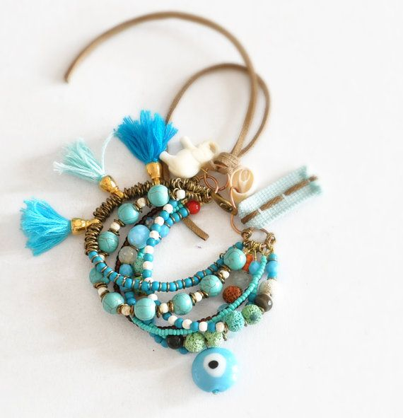 Multi Strand Gypsy Bracelet  Bohemian Gemstone by stellacreations