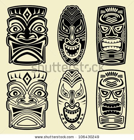 Hawaiian Warrior mask | Tiki Stock Photos, Illustrations, and Vector Art