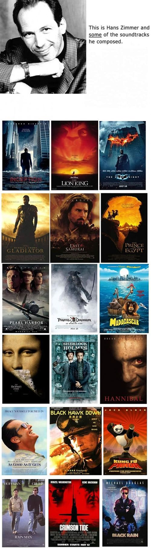 Just a small few of the films Hans Zimmer has composed