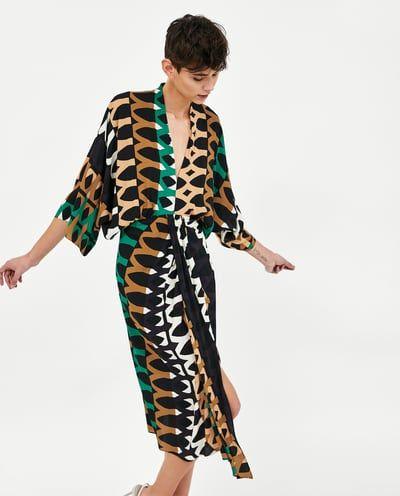 Midi Drapeado Zara México All Mujer Estampado Vestidos Vestido qHwx7ETq