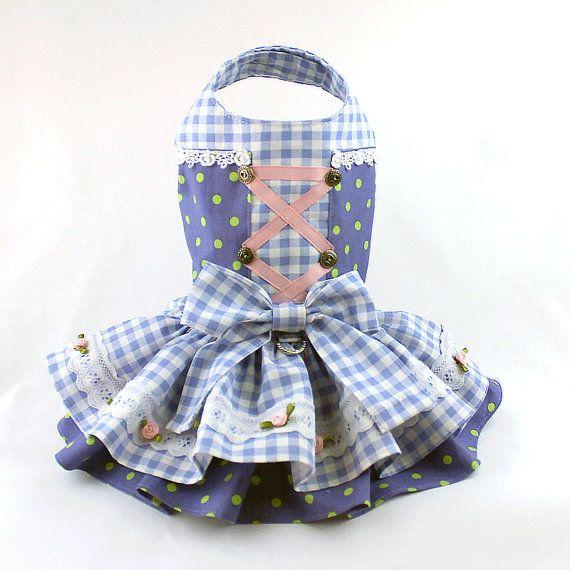 Dog dress Dog Harness Dress Ruffle Dress for by LittleDogFashion