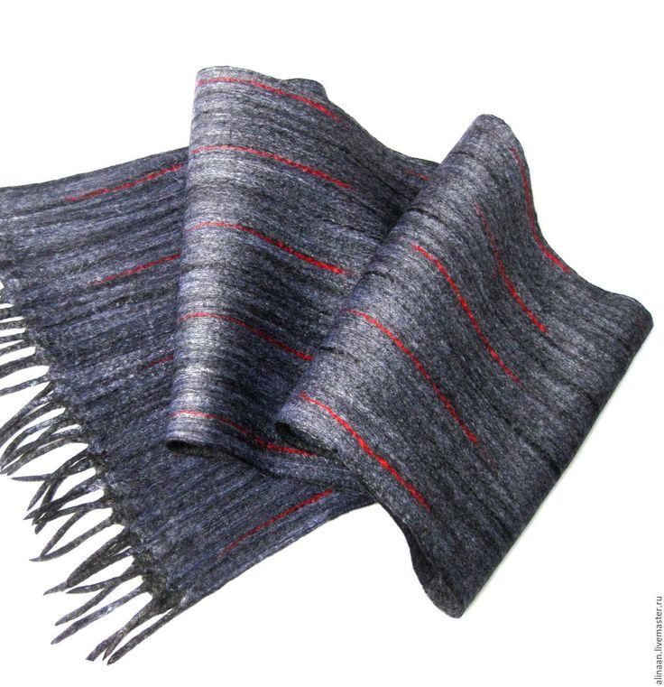 """Купить """"Алекс"""" Шарф мужской валяный - серый, в полоску, шарф, шарф мужской, шарф валяный"""