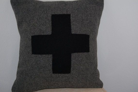 CUSTOM Woolen Colors Red Cross Square Throw Pillow First Aid Army Military Handmade Upcycled Vintage Pendleton Wool Blanket 14 x 14