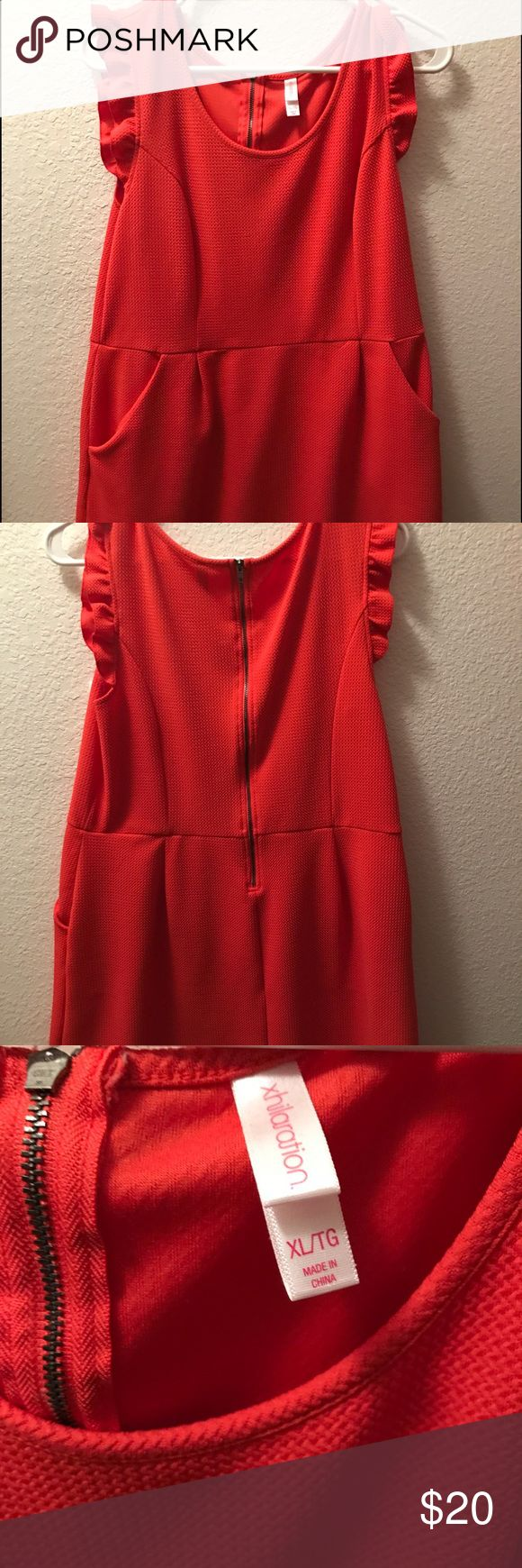 Orange dress with Ruffle Sleeves This dress is short. Mid to high thigh. Worn once. Xhilaration Dresses