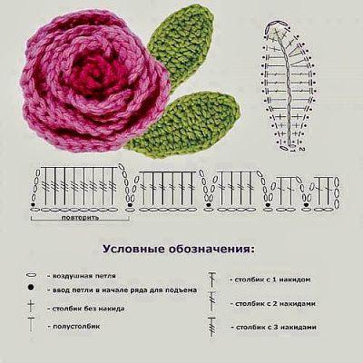 I miei lavori all'uncinetto: Schemi uncinetto fiore con foglie