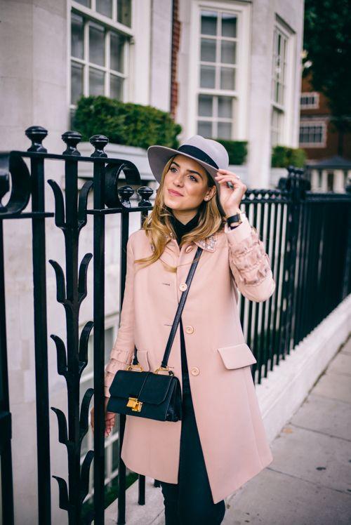 Pink in Belgravia - Miu Miu coat, OldNavy Jeans, Miu Miu Bag, Maison Michel Hat