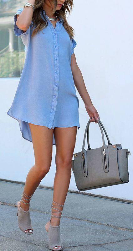 Washed blue shirt dress: