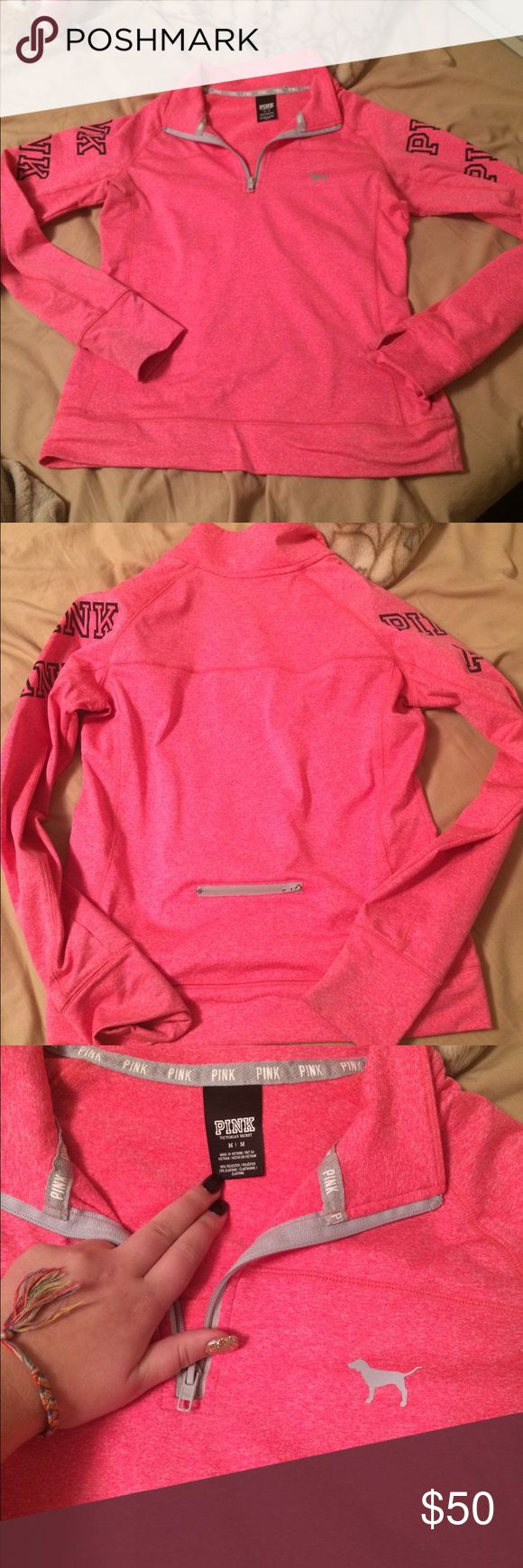 Athletic half zip True to size athletic dry fit material marks in selves price is pretty firm this was expensive no lie offers please PINK Victoria's Secret Sweaters