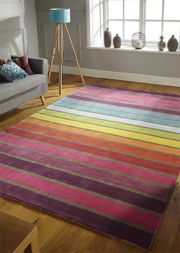 Illusion Candy Multi Rug Colourful Striped For Rugs Uk