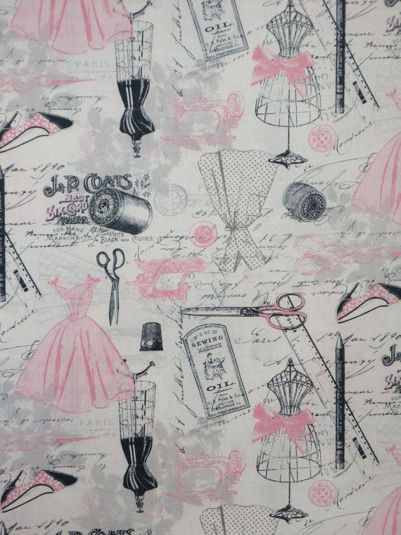 Pink and Gray Vintage Sewing Print Pure by fabricsandtrimmings