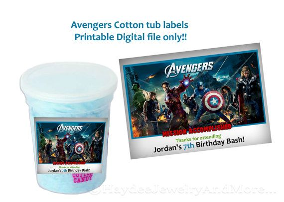 Avengers Birthday Cotton Candy labels Mission Accomplished