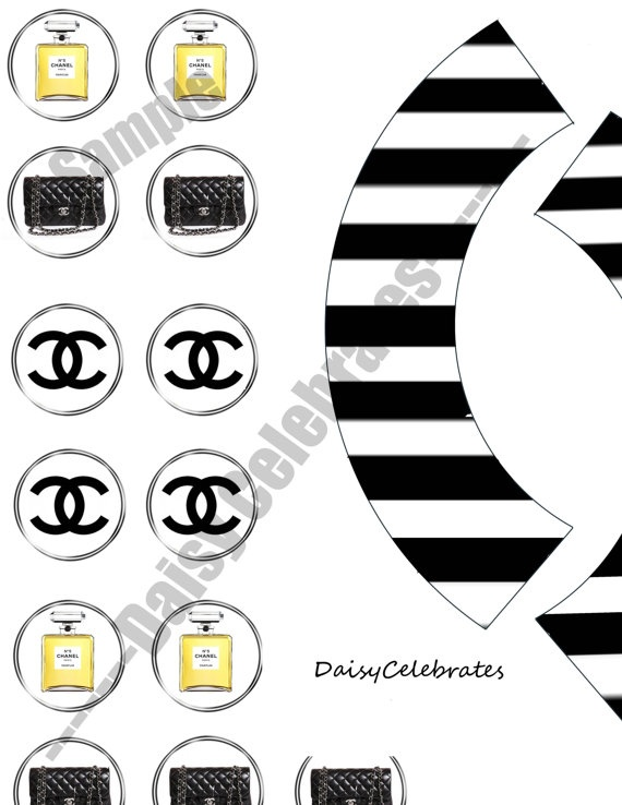 Chanel Party cupcake topper and wrapper printables