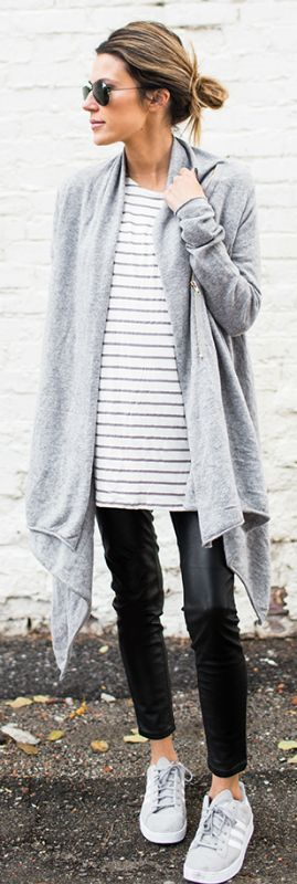 Horiztontal stripes are in this season. Wear a simple striped top with cigarette trousers and a wrap   around cardigan to recreate this look by Christine Andrew.  Outfit: Ily Couture.