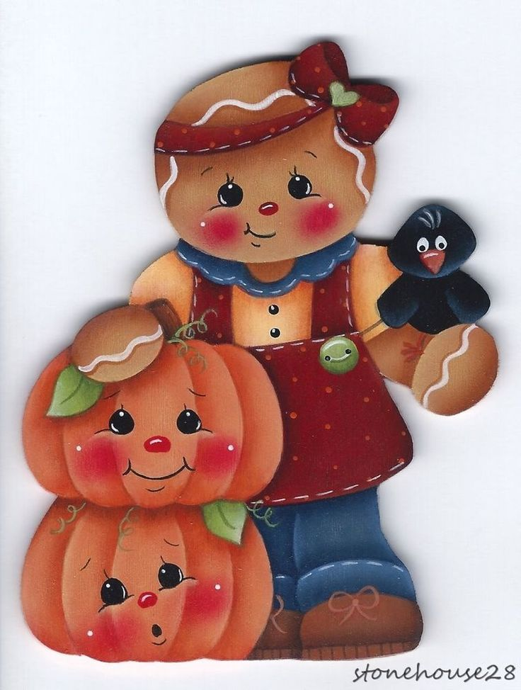 HP GINGERBREAD with Pumpkins FRIDGE MAGNET #Handpainted