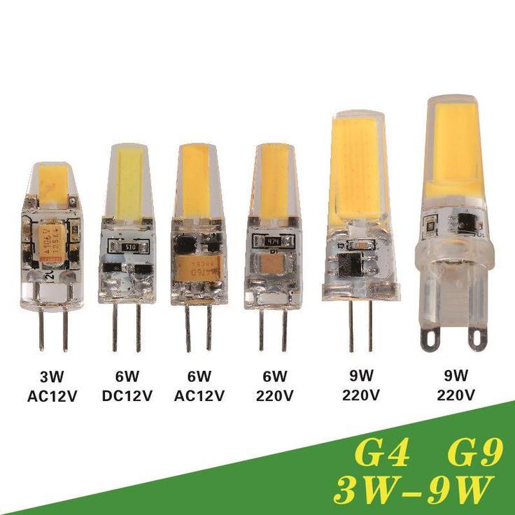 Dimmable LED de La Lámpara G9 G4 AC DC 12 V 220 V 3 W 6 W 9 W COB Bombilla LED Mini G9 360 Ángulo de Haz G4 Sustituir Lámpara Halógena luces