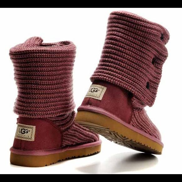 Burgundy UGG classic cardy boots! Great condition! Look new. The inside of boots have fur that's worn down barely any, that shows worn a handful of times. Brown button color and tan on bottom of boot. Super cute color as well, and snuggly! These are a tad too big for me. UGGs run big and don't have half sizes and I didn't know this when purchasing): UGG Shoes Winter & Rain Boots