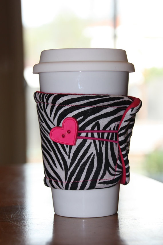 Zebra/Pink Coffee Cup Cozy Sleeve. $5.00, via Etsy.