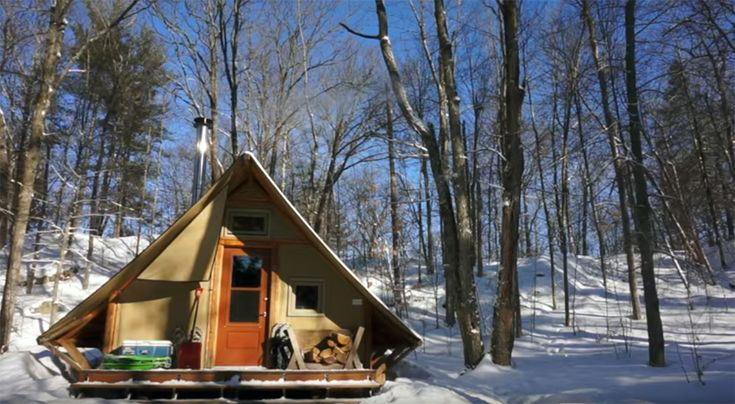 In this video, you'll get a tour of a prospector-style, 4-season tent that is completely off-grid. The tent is built with two layers of weather-proof canva