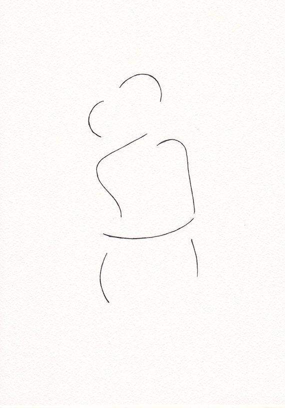 Minimalist kiss drawing. Original line art illustration. by siret – Carina Adam