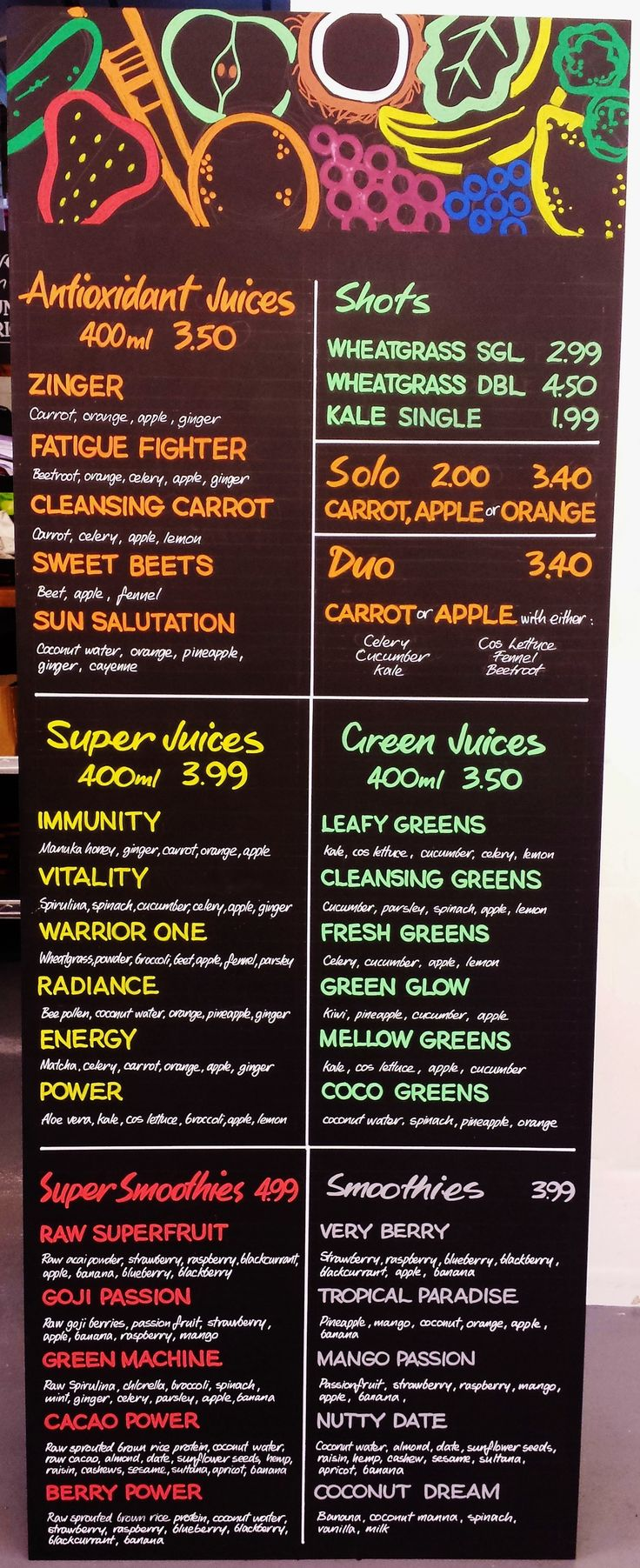 New Juice Menu Board #freehand #signwriting #signage #poscapen #chalkboard…