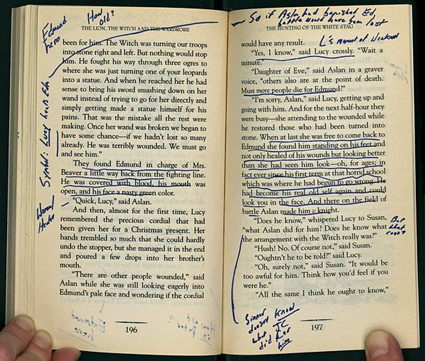 Annotated pages from David Foster Wallace's copy of C. S. Lewis's The Lion, the Witch, and the Wardrobe