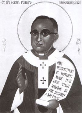 An icon shows the late Archbishop Oscar Romero of El Salvador, who was assassinated 25 years ago. RNS file photo