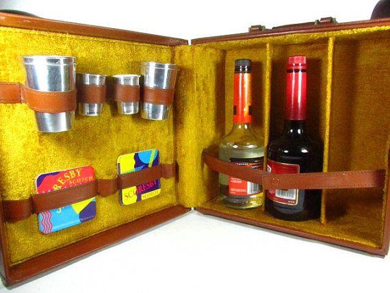 TRAVEL BAR SET, Mad men,bar set, vintage bar, liquor,gift, wine set, bar box, mid century,retro, on Etsy, $65.00
