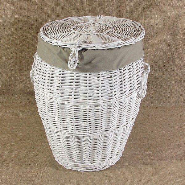 Biały wiklinowy kosz na pranie obszyty materiałem w kol. szarym
