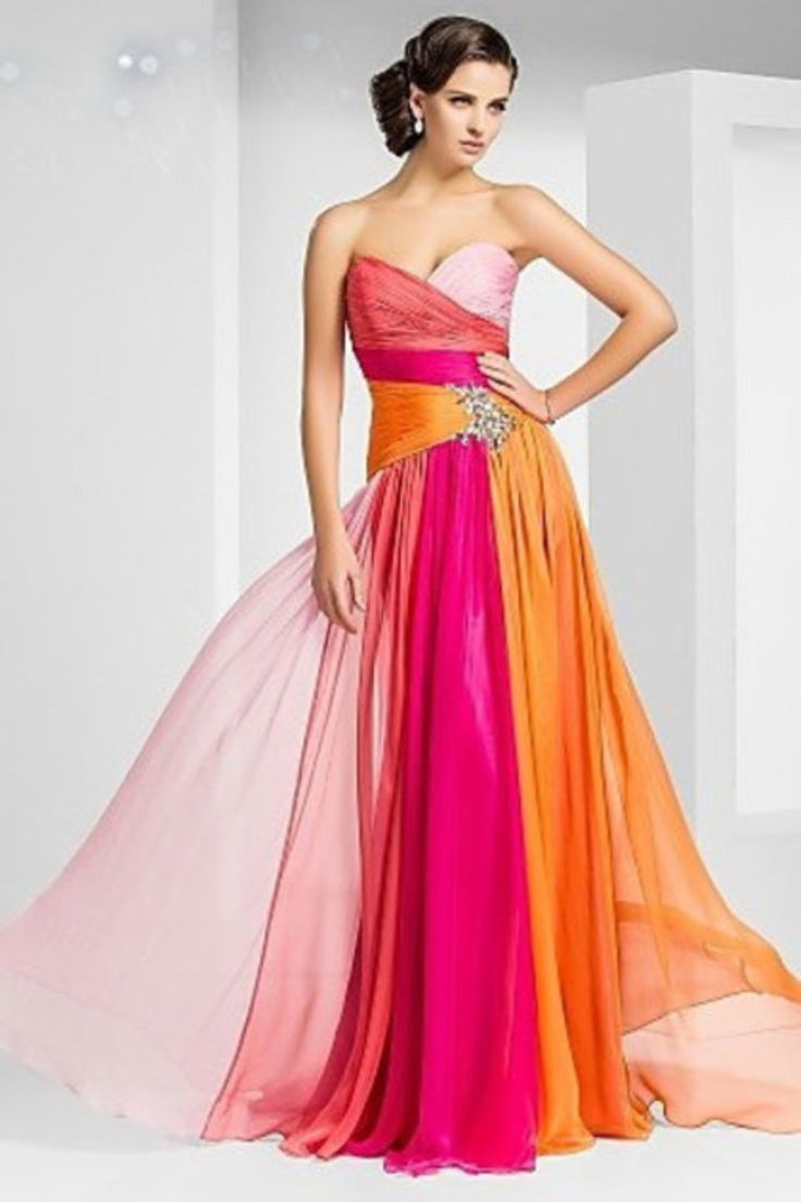 Fashionably Yours Colorful Chiffon Evening Gown