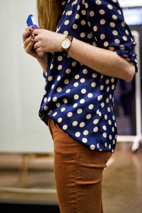 Polka Dots With Brown Skinny Jeans