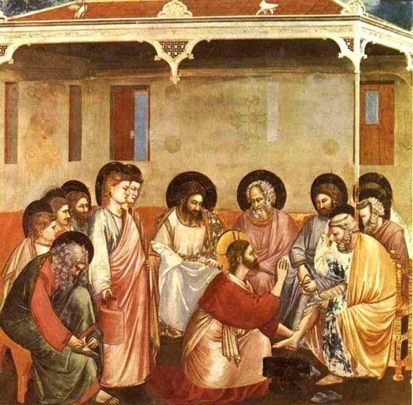 Fresque de Giotto, de l'église d'Arena à Padoue, Italie, datant de 1304-1306. Jeudi Saint Messe du soir en mémoire du dernier repas du Seigneur Aujourd'hui, Jésus demande à ses disciples de préparer la salle pour le repas pascal. La table est mise pour...