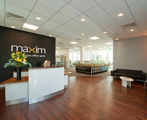 Office design could put our logo on the wall behind the for Bureau reception