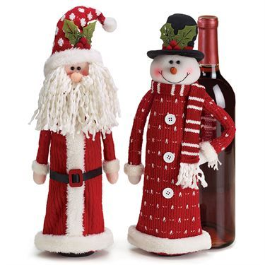 Santa and Snowman Holiday Wine Bottle Cover Set