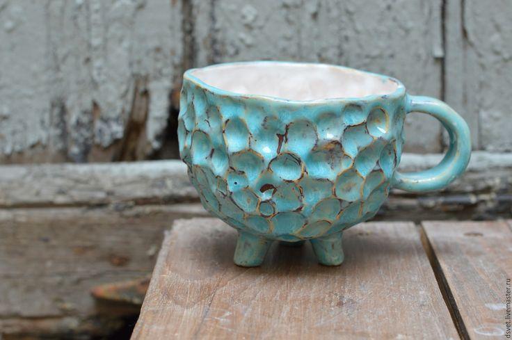 Купить Кружка-барашек - бирюзовый, Керамика, керамика ручной работы, керамическая посуда, кружка