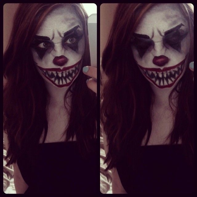 evil killer clown makeup i done following a youtube tutorial this is me pinterest clown. Black Bedroom Furniture Sets. Home Design Ideas