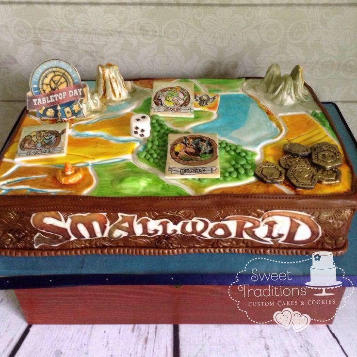 Table top game day cake. Board game. Fondant covered and hand painted. Small world board game