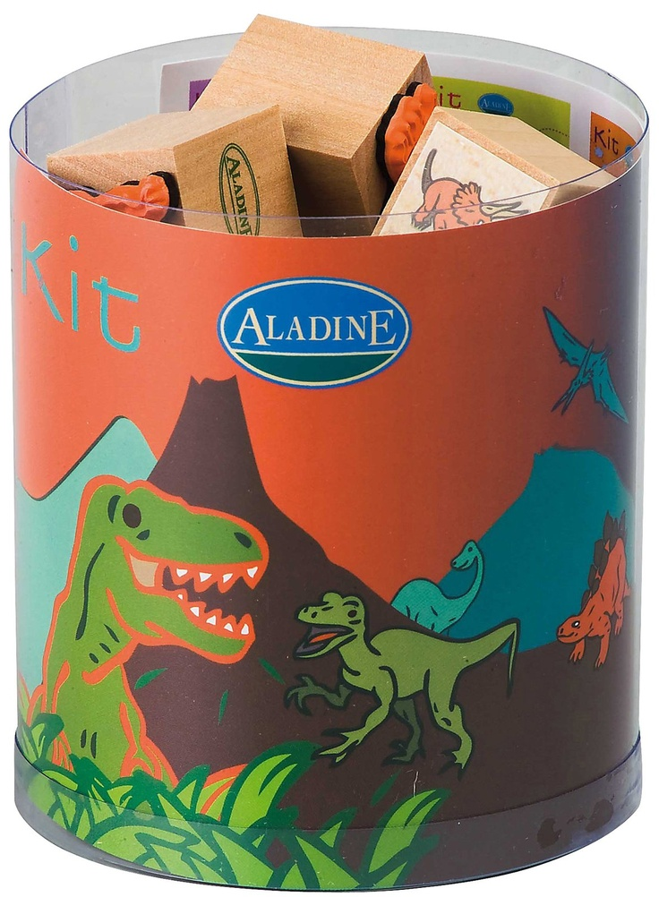 Aladine Dinosaur Themed Rubber Stamps w/ Ink Pad - Set of 15