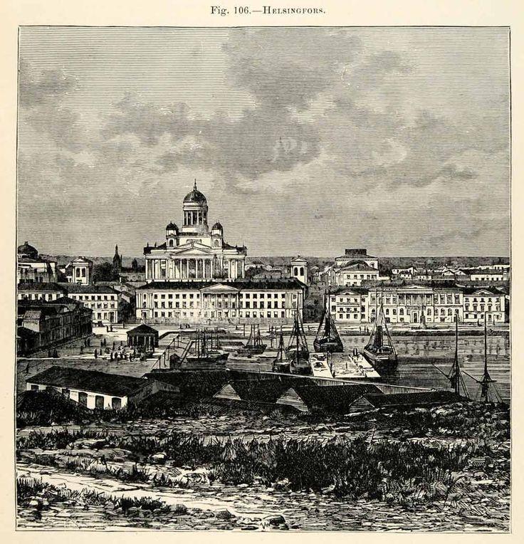 Helsinki/Helsingfors Wood engraving1882