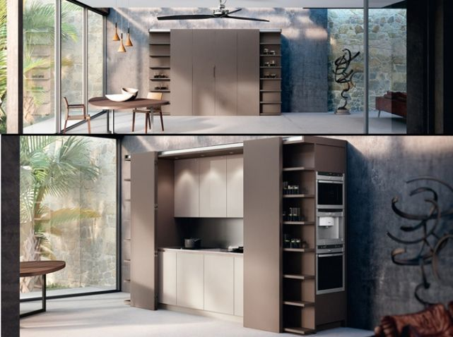 une cuisine cach e dans un placard studio kitchen kitchens and small corner. Black Bedroom Furniture Sets. Home Design Ideas