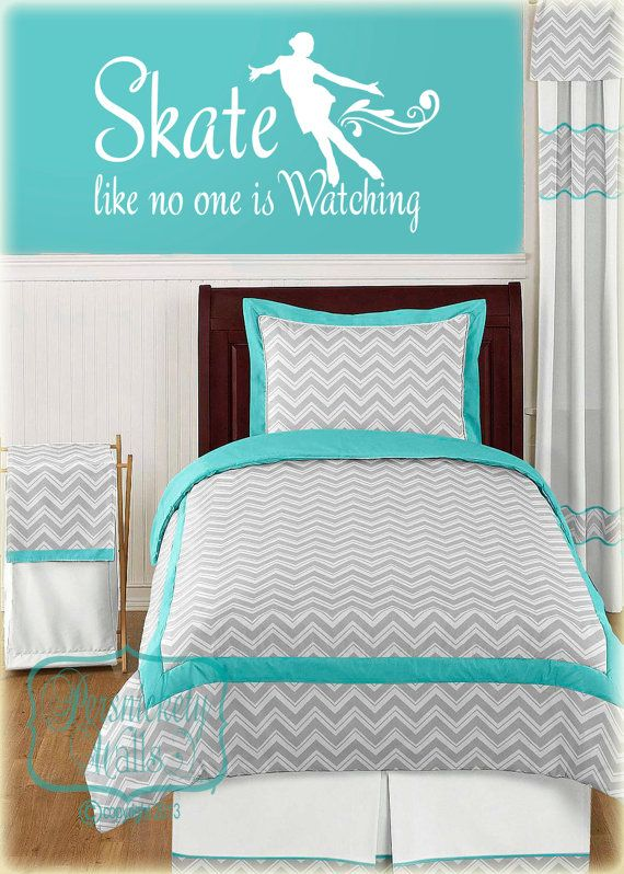 Figure Skater Silhouette vinyl wall art with Stake like no one is Watching vinyl quote decal sticker (Choose your color)